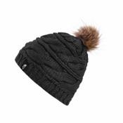 The North Face Triple Cable Fur Pom Beanie, TNF Black-Dijon Brown, medium
