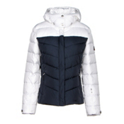 Bogner Fire + Ice Sally2 Down Womens Insulated Ski Jacket, White-Navy, medium