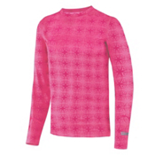 Terramar Thermolator Crew Girls Long Underwear Top, Pink Mountain Print, medium