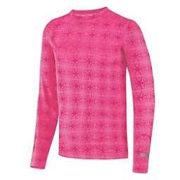 Terramar Thermolator Crew Girls Long Underwear Top, Pink Mountain Print, 256
