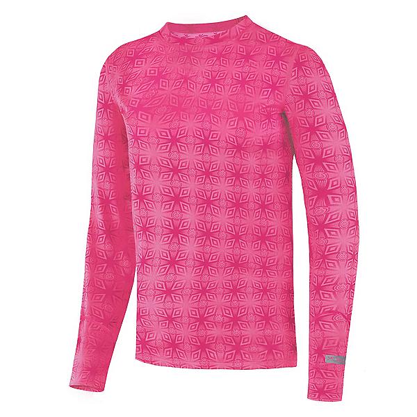 Terramar Thermolator Crew Girls Long Underwear Top, Pink Mountain Print, 600