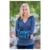 Alp-n-Rock Cozy Long Sleeve Henley Womens Shirt, Dress Blues, medium