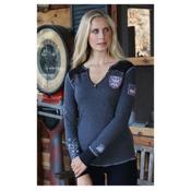 Alp-n-Rock Ski Local Long Sleeve Henley Womens Shirt, Heather Black, medium