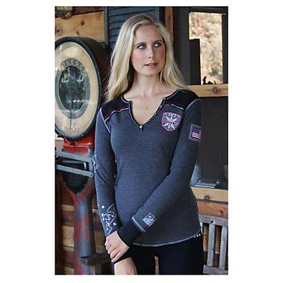 Alp-n-Rock Ski Local Long Sleeve Henley Womens Shirt, Heather Black, viewer