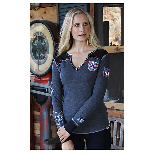 Alp-n-Rock Ski Local Long Sleeve Henley Womens Shirt, Heather Black, 600