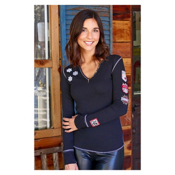 Alp-n-Rock Ski Lift Long Sleeve Henley Womens Shirt, Black, medium