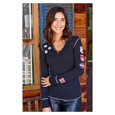 Alp-n-Rock Ski Lift Long Sleeve Henley Womens Shirt, Black, viewer