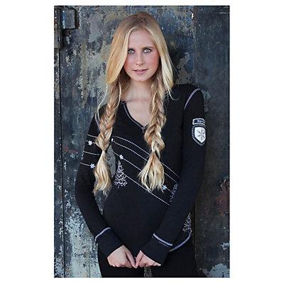 Alp-n-Rock Home Long Sleeve Henley Womens Shirt, Black, viewer
