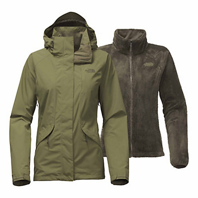 The North Face Boundary Triclimate Womens Insulated Ski Jacket, Burnt Olive Green, viewer