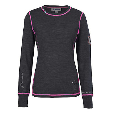 Meister Peace Womens Sweater, Charcoal Gray-Rose, viewer
