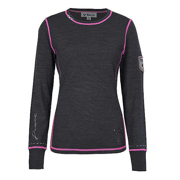 Meister Peace Womens Sweater, Charcoal Gray-Rose, 600