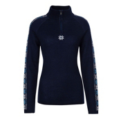 Meister Abby Womens Sweater, Deep Navy-Winter White-Robin, medium