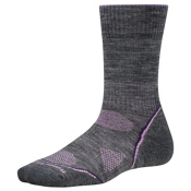 SmartWool PhD Outdoor Light Crew Womens Socks, Medium Gray-Desert Purple, medium