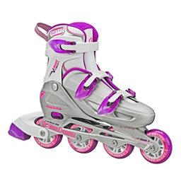 Roller Derby V Tech 500 Adjustable Girls Inline Skates, Grey-Purple, 256