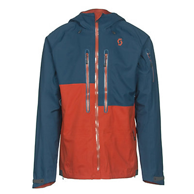 Scott Explorair 3L Mens Shell Ski Jacket, Eclipse Blue-Burnt Orange, viewer