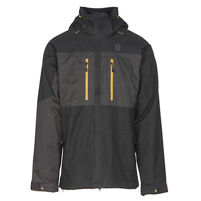 Scott Ultimate Dryo Mens Insulated Ski Jacket, Black Heather-Earth Grey Heath, viewer