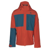 Scott Terrain Dryo Mens Insulated Ski Jacket, Burnt Orange-Eclipse Blue Oxfo, medium