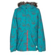 O'Neill Radiant Faux Fur Girls Snowboard Jacket, Teal Blue, medium