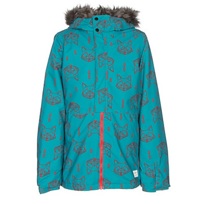 O'Neill Radiant Faux Fur Girls Snowboard Jacket, Teal Blue, viewer