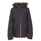 O'Neill Radiant Faux Fur Girls Snowboard Jacket, Blue Aop, medium