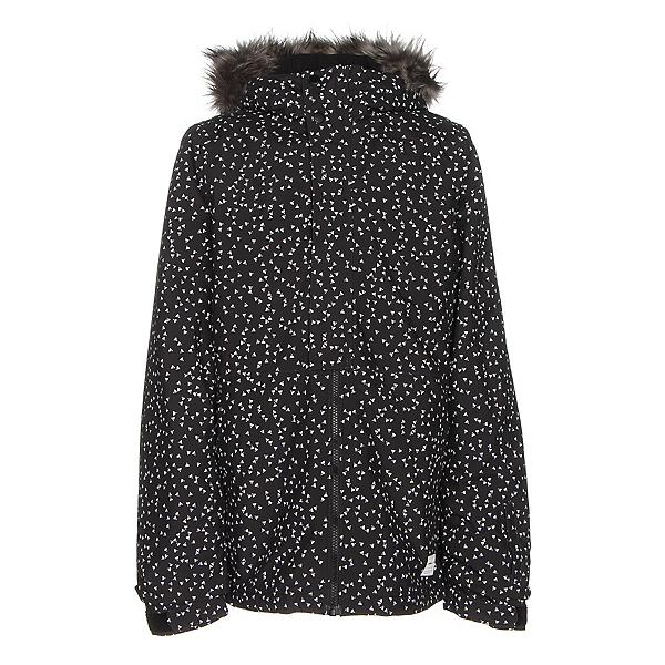 O'Neill Radiant w/ Faux Fur Girls Snowboard Jacket, Black Aop W-White, 600