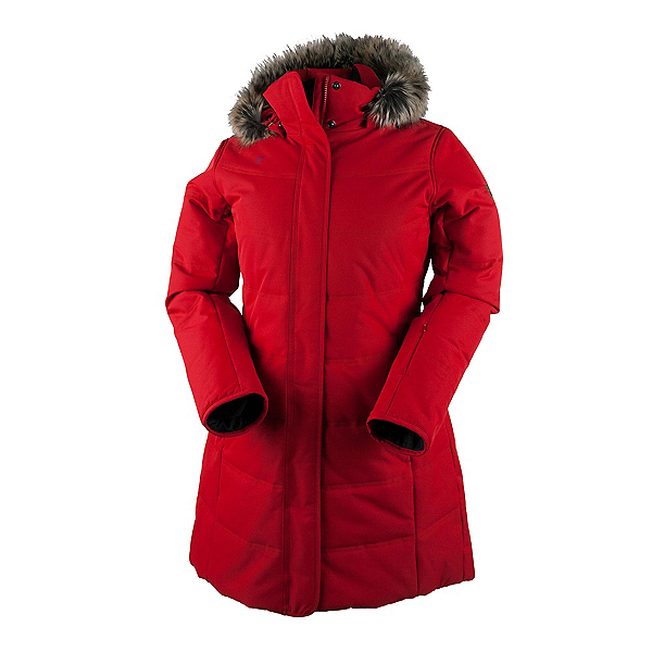 Obermeyer Tuscany Parka with Faux Fur Womens Insulated Ski Jacket, Crimson, 600