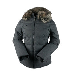 Obermeyer Bombshell with Faux Fur Womens Insulated Ski Jacket, Light Heather Gray, 256