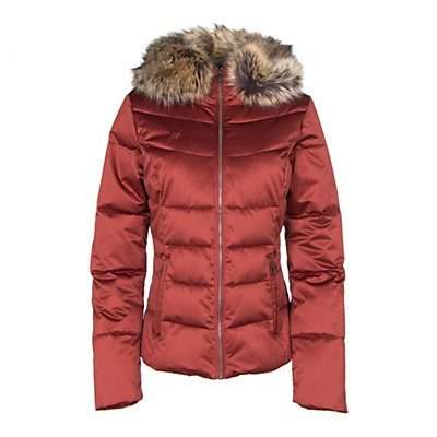Obermeyer Bombshell with Faux Fur Womens Insulated Ski Jacket, Light Heather Gray, viewer