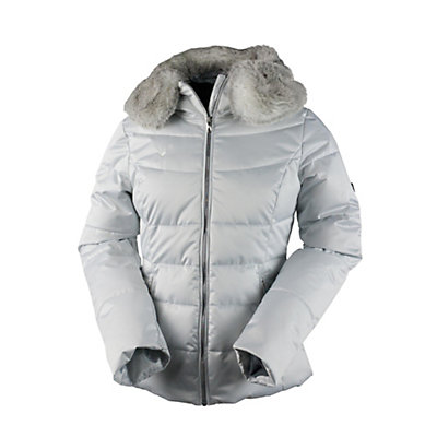 Obermeyer Bombshell Petite w/Faux Fur Womens Insulated Ski Jacket, Light Heather Gray, viewer