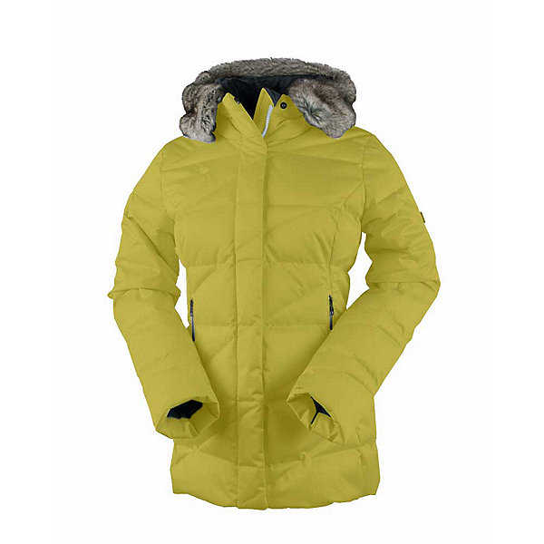 Obermeyer Bombshell Parka w/Faux Fur Womens Insulated Ski Jacket, Peridot, 600