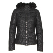 Obermeyer Bombshell SE with Faux Fur Womens Insulated Ski Jacket, Dark Leopard, medium