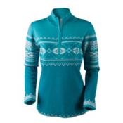 Obermeyer Carla Knit 1/2 Zip Womens Sweater, Mermaid, medium