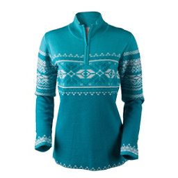 Obermeyer Carla Knit 1/2 Zip Womens Sweater, Mermaid, 256