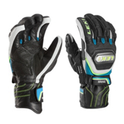 Leki World Cup Race Ti Speed System Glove Ski Racing Gloves, Black-White-Cyan-Yellow, medium
