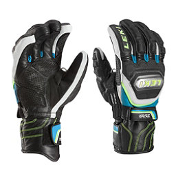 Leki World Cup Race Ti Speed System Glove Ski Racing Gloves, Black-White-Cyan-Yellow, 256