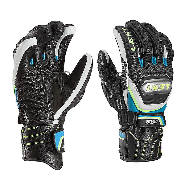 Leki World Cup Race Ti Speed System Glove Ski Racing Gloves, Black-White-Cyan-Yellow, 600