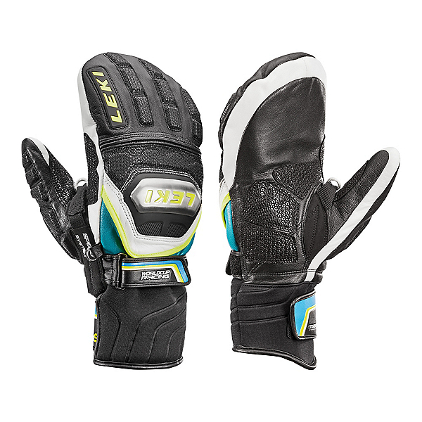 Leki World Cup Race Ti S Speed System Ski Racing Mittens, Black-White-Cyan-Yellow, 600