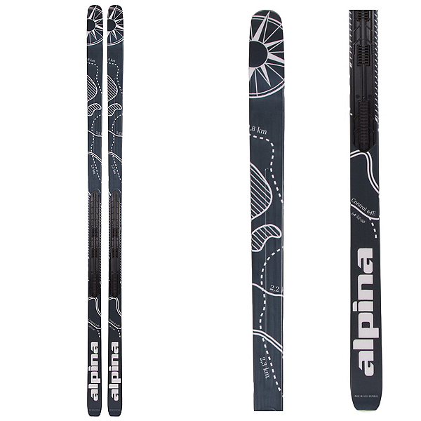 Alpina Control 64 Edge NIS Cross Country Skis, Black-White, 600