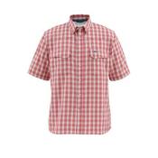 Simms Big Sky Short Sleeve Mens Shirt, Brick Plaid, medium