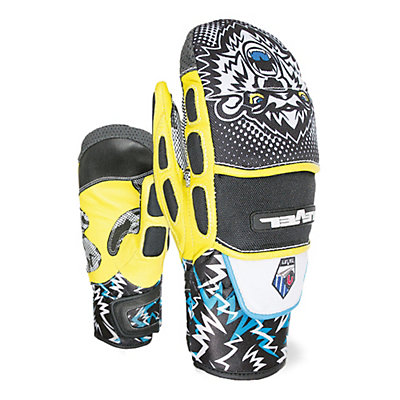 Level WorldCup CF JR Ski Racing Mittens, Black-Yellow, viewer