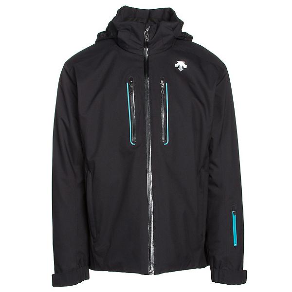 Descente Vertex Mens Insulated Ski Jacket, Black-Black-Teal Blue, 600