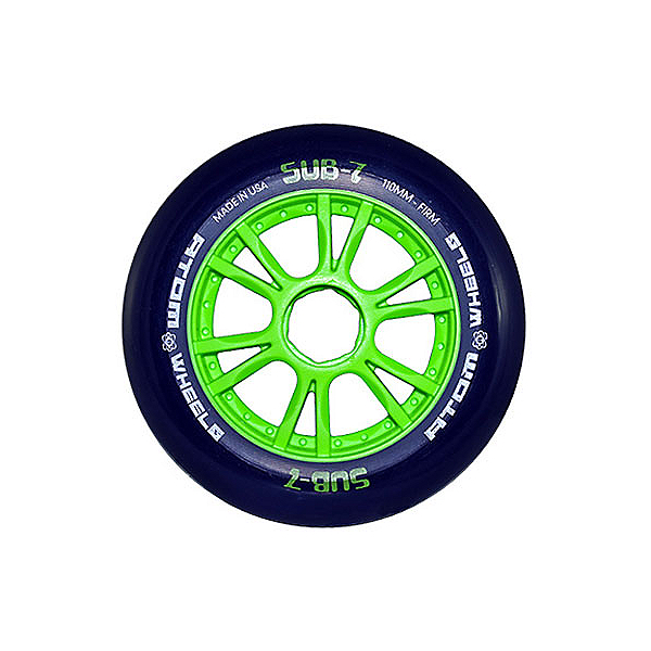 Atom Skates Sub 7 Inline Skate Wheels - 8 Pack, Green-Blue, 600
