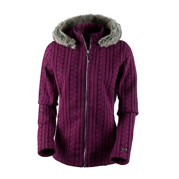 Obermeyer Sadie Cable Knit Faux Fur Womens Sweater, Bordeaux, 600