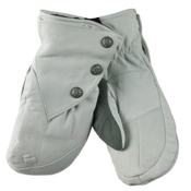 Obermeyer Gates Leather and Down Womens Mittens, White, medium