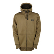 686 Icon Bonded Zip Fleece Mens Hoodie, Olive, medium