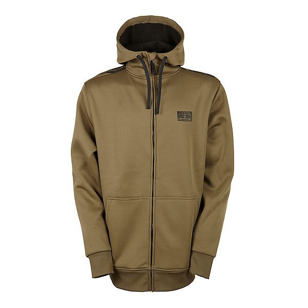 686 Icon Bonded Zip Fleece Mens Hoodie, Olive, 600