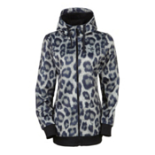 686 Ella Bonded Fleece Zip Womens Hoody, Leopard Print, medium