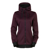 686 Ella Bonded Fleece Zip Womens Hoody, Black Ruby, medium