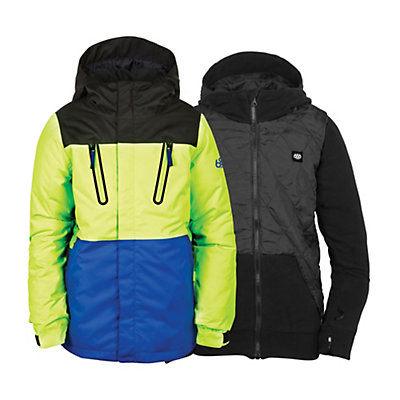 686 Smarty Merge Boys Snowboard Jacket, Mantis Green Colorblock, viewer