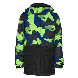 686 Onyx Insulated Boys Snowboard Jacket, Mantis Green Geo Camo Colorblock, 256